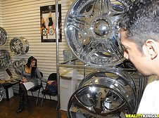 Hot big ass latina gets pounded hard in these car store office fuck pics